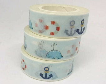 Sea Animal Washi Roll Treasures of the North Sea Washi Tape Ocean Octopus Masking Tape Penguin Whale Nautical Washi Roll