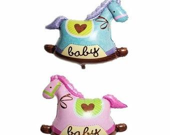 BABY GIRL PINK ROCKING HORSE AIRWALKER BALLOON PARTY BABYSHOWER NURSERY GIFT