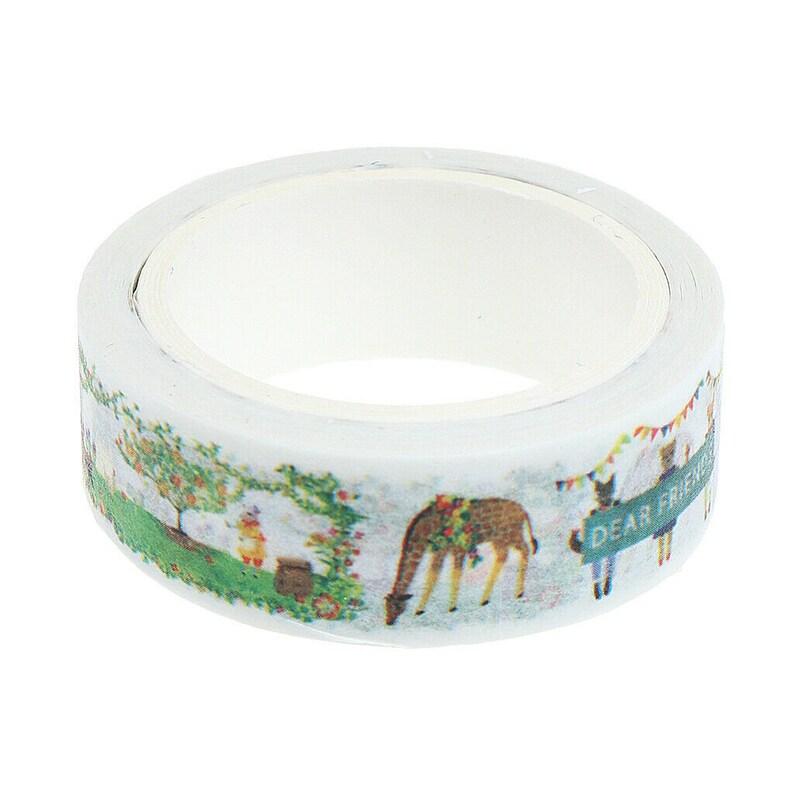Scrapbooking Craft Supply Tape Furry Friends Washi Tape Kawaii Cartoon Bunny Rabbit and Deer Animal Masking Tape Cute Animal Washi Tape