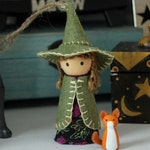 Mini Witch Figurine  - Peg Dolls - Witchy Aesthetic - Pagan - Wiccan - Halloween - Christmas Ornament - Toys - Hemp - Home Decor - Cute