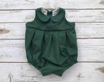 c78c63684cf2 Green Peter   Sally Romper - Romper - Green Romper - Sort Sleeve Romper - Baby  Romper - Peter Pan Collar