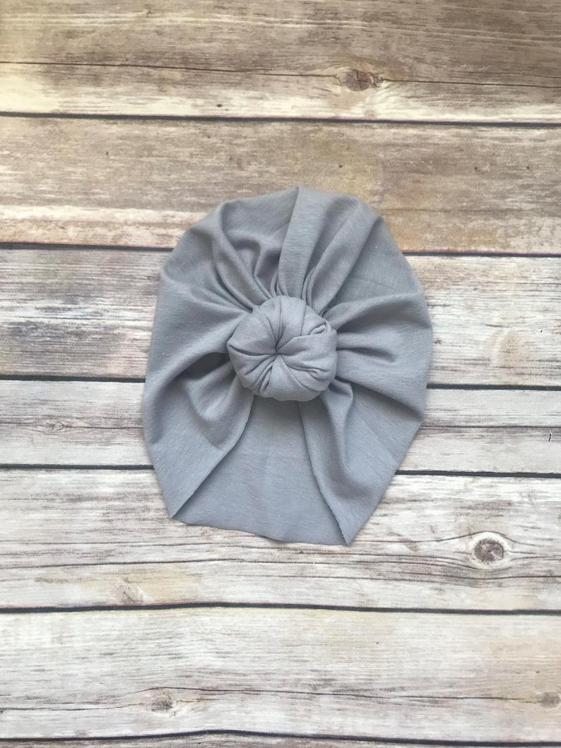 Solid Grey Turban Baby Turban Top Knot Turban Hat Top  60abbfedde4a