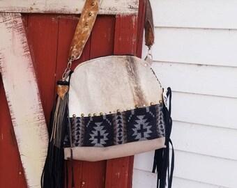 e95a48f843 Neutral Pendleton fabric cowhide fringe purse