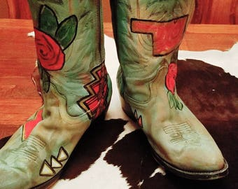 Handpainted turquoise boots