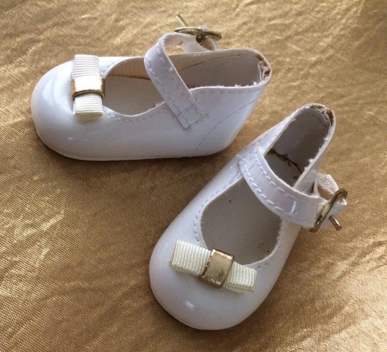Vtg White Doll Shoes 3.5 Talina/'s Gold Buckle Patent Lthr Style Grosgrain Bo