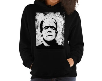 e91253fa3522 Horror hoodie   Frankenstein s monster unisex horror Hooded Sweatshirt   horror sweatshirt   goth clothing