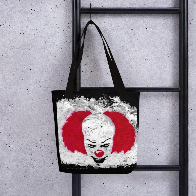 pennywise horror tote bag tim curry  goth  shoulder bag  tote bag  it  dancing clown Halloween bag goth bag