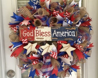 Americana Patriotic Mesh wreath