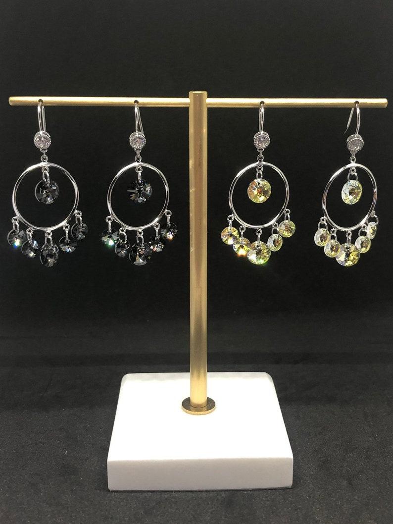 White Crystal Dream Earrings Crystal Earrings Cricle Crystal Earrings 925 Silver Earrings