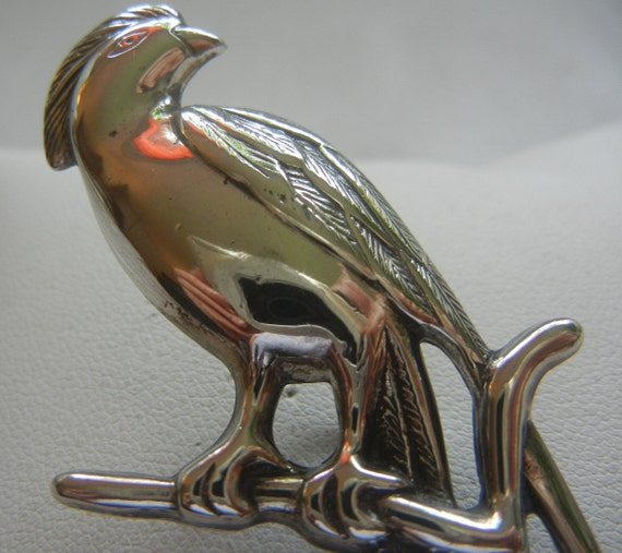 Large Bird of Paradise sterling silver brooch 7.8