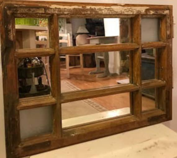 Antique Window Frame Mirror Rustic Wood Window Framed Mirror Etsy
