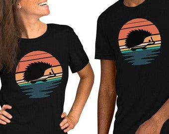 Hedgehog Shirt by Urchin Wear Retro Sunset Vibes Boho Short-Sleeve T-Shirt