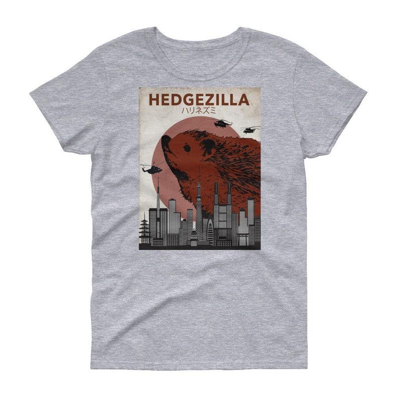 d82741547 Hedgehog T-Shirt: Hedgezilla Battle For Tokyo Movie Poster | Etsy