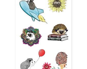 Hedgehog Stickers Cute Vinyl Kiss Cut Stickers Multi Surface