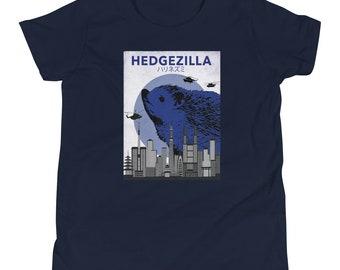 Hedgehog Shirt for Kids Hedgezilla Youth Short Sleeve T-Shirt Blue