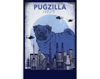 Blue Pugzilla Pug Poster