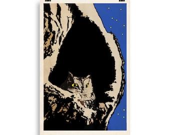 Night Owl Poster Eastern Screech Owl Nesting Giclée Art Print Naturalist Minimalist Modern EU Sizes