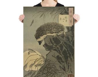 "Taiso Yoshitoshi's ""Hedgehog Princess Peering at Moon from Cliff"" (1885) Poster"