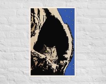 Night Owl Poster Eastern Screech Owl Nesting Giclée Art Print Naturalist Minimalist Modern