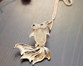 Cute Gold Pink Fish Pendant Necklace