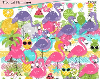Tropical Flamingos Clipart instant download PNG file - 300 dpi