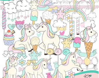 Sweet Unicorn Clipart instant download PNG file - 300 dpi