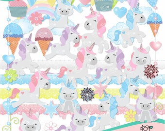 Unicorns Clipart instant download PNG file - 300 dpi