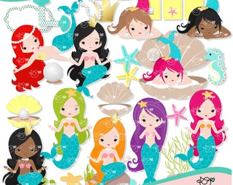Mermaid Clipart instant download PNG file - 300 dpi