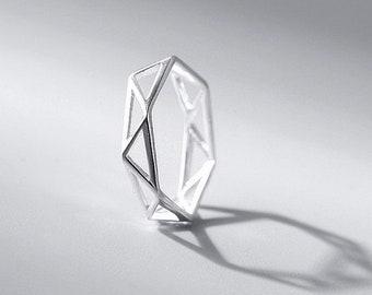 925 sterling silver simple geometric adjustable rings