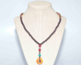 Amber Pendent Necklace&Bracelets/ Garnet beads/ wooden beads/ silver spacers/ agate spacer/ bodhi roots beads/ stretchy bracelets