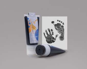 BLACK | Organic Stamping Fun 50ml Tube | detailed Baby handprints footprints | 100% organic ink made in germany | absolutely non-toxic