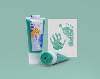 BERMUDA mint   Organic Stamping Fun 50ml Tube   detailed Baby handprints footprints   100% organic ink made in GER   absolutely non-toxic