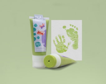 PISTACCIO   Bio Babystempel 50ml Tube   beautiful Baby handprints footprints   100% organic ink made in germany   absolutely non-toxic
