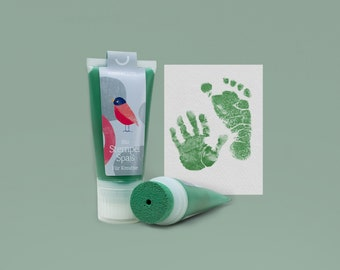 GREEN | Bio Babystempel 50ml Tube | beautiful detailed Baby handprints footprints | 100% organic ink made in germany | absolutely non-toxic