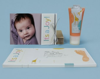 """Do-it-Yourself Photo Birth announcement """"It's a Joy!"""" including organic Baby Footprint stamping ink"""