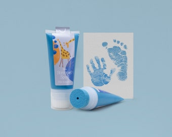 TURQUOISE | Bio Stamping Fun 50ml Tube | detailed Baby handprints footprints | 100% organic ink made in germany | absolutely non-toxic