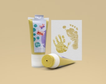 LEMON CURRY   Bio Baby Stamp 50ml Tube   detailed Baby handprints footprints   100% organic ink made in germany   absolutely non-toxic