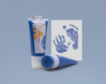 NAVY blue   Organic Stamping Fun 50ml Tube   for detailed Baby handprints footprints   100% organic ink made in GER   absolutely non-toxic