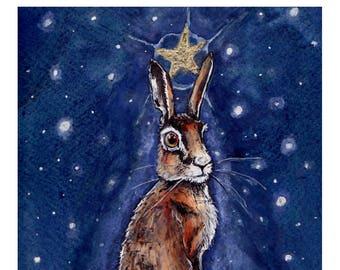 Hare Star A4 print