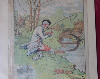 Quantin imagery. Paris. 1900 6 series. Number 1. The little fish and fisherman. Talk of the fountain. Illustrator: Vogel. 1856 - 1918