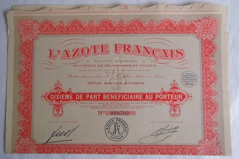 L/'Azote Français Dixième de Part Bénéficiare au Porteur Paris