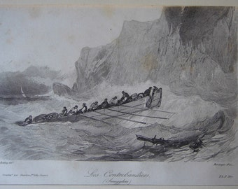 Engraving. 1870 smugglers. Smugglers. By Rouargue. E Isabey. Paris. Printed by Thistle