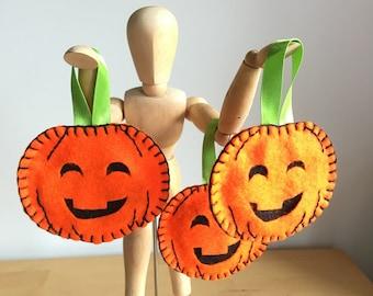 Set of 3 - Pumpkin Decoration - Halloween Decoration - Halloween Tree - Happy Pumpkin - Hanging Pumpkin - Friendly Pumpkin - Felt Pumpkin