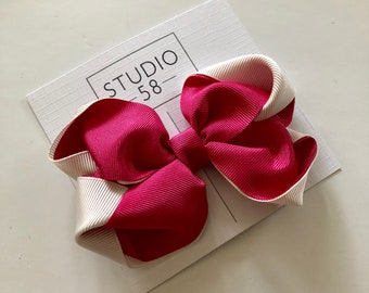 Pink double ribbon hair bow clip