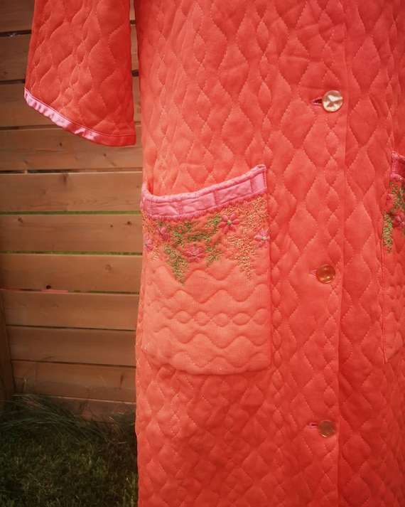 1960's embroidered quilted housecoat robe orange - image 2