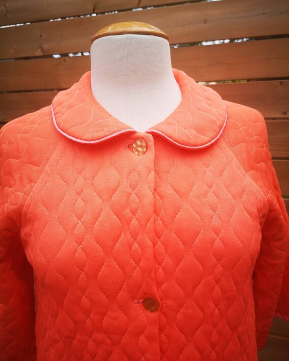 1960's embroidered quilted housecoat robe orange - image 6