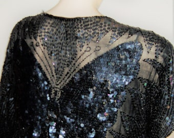 GREAT GATSBY Style BUTTERFLY silk sequinned top freesize uk  size 14
