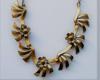 1950S  GERMAN FLORALIA necklace stamped gold schell /gold plated