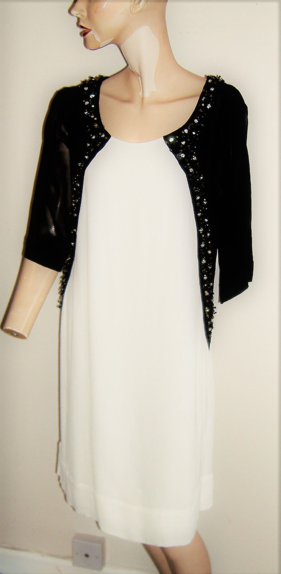 1980S/90S BIBA LABEL DRESS monochrome