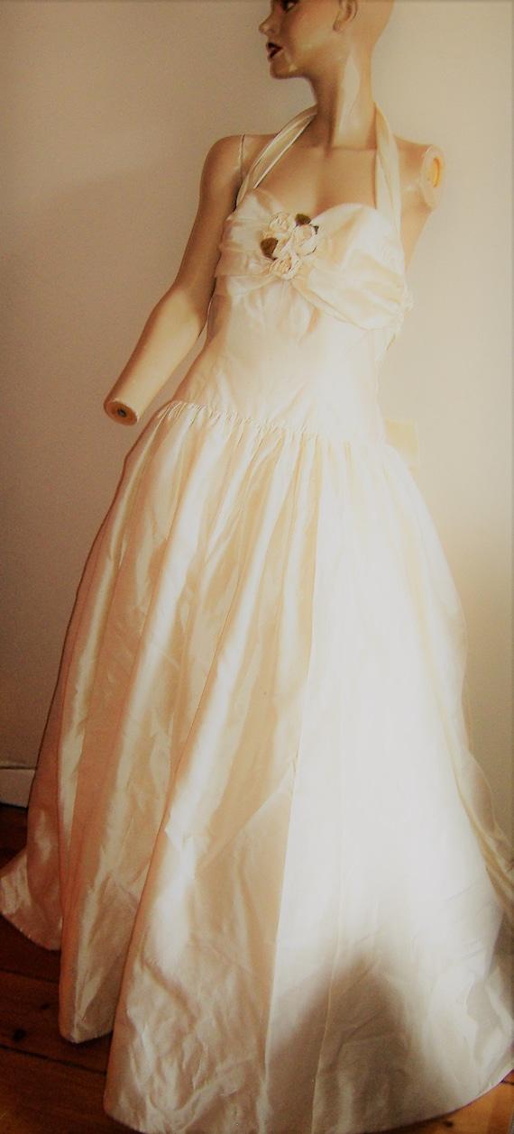 FABULOUS TAFFETA SILK 1980S wedding dress halter n